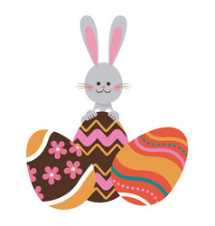 Cute easter bunny with colored eggs decorative vector