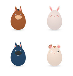 Easter animals eggs vector