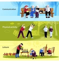 Elderly People Banners Set vector image vector image