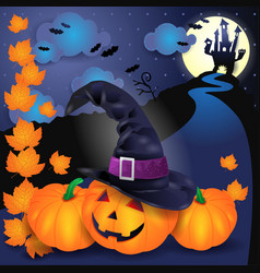 halloween with pumpkin hat leaves and castle vector image vector image