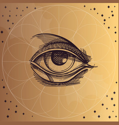 Hand drawn sketch eye of providence all seeing vector