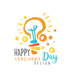 happy teachers day card concept with electric lamp vector image vector image