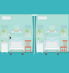 Hospital ward room interior with beds vector