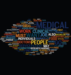 Medical careers text background word cloud concept vector