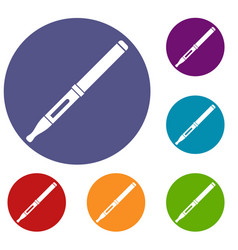 Mod and clearomizer in the kit icons set vector