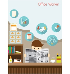 Office worker read business newspaper in office vector