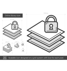 Online library line icon vector