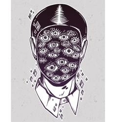 Portrait of a many eyed man with surreal face vector image vector image