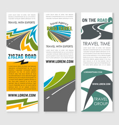 Road trip and car journey banner template design vector