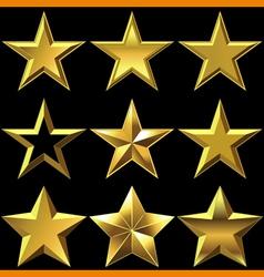 set of golden shiny stars bulk vector image vector image
