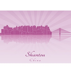 Shantou skyline in purple radiant orchid vector image vector image