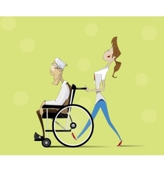 Social worker and elder man in wheelchair vector