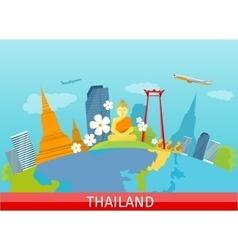 Thailand travelling banner thai landmarks vector