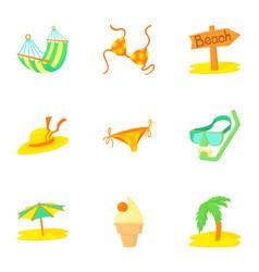 Trip to sea icons set cartoon style vector