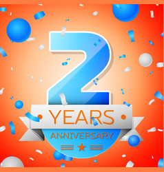 two years anniversary celebration vector image