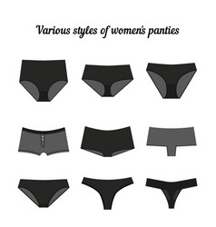 various styles of women panties black vector image