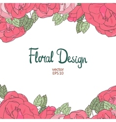Vintage wedding border with pink roses vector