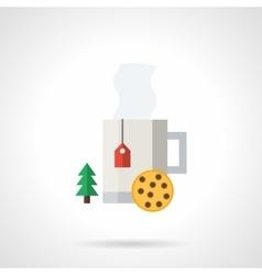 Winter hot tea flat color icon vector image