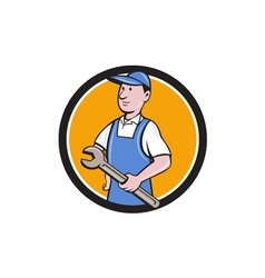 Repairman holding spanner circle cartoon vector