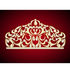 Feminine decorative tiara crown with jewels vector