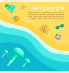 Sea rest concept beach jellyfish cartoon style vector