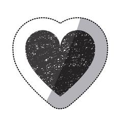 black sticker silhouette of icon heart hand drawn vector image