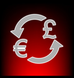 Currency exchange sign euro and uk pound postage vector