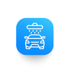 Car wash line icon on rounded square shape vector