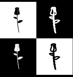 Rose sign   black and white vector