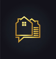 House data technology gold logo vector