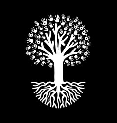 Hand tree in black and white for community help vector