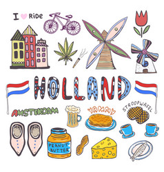 Doodle hand sketch collection of holland icons vector