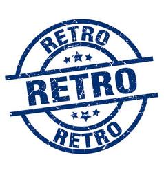 Retro blue round grunge stamp vector