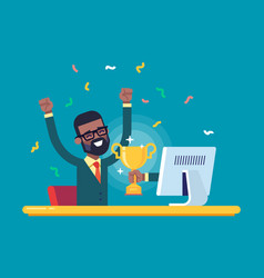 Black businessman got a gold award from monitor vector