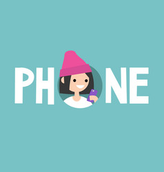 Phone concept sign young teenage girl is looking vector