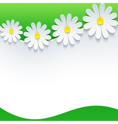 Floral frame with 3d flower chamomile vector image