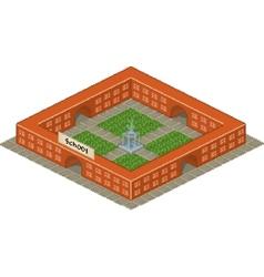 Pixel art school building icon vector