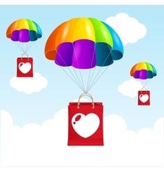Rainbow parachute love concept vector