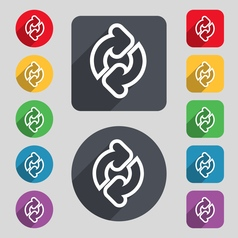 Refresh icon sign a set of 12 colored buttons and vector