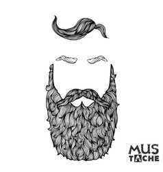 Hand drawn mustache beard and hair style hipster vector