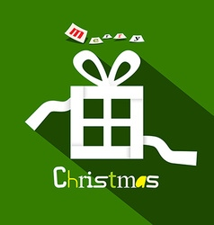 Merry christmas title with paper gift box on green vector