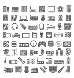 Black icons computer and network hardware vector