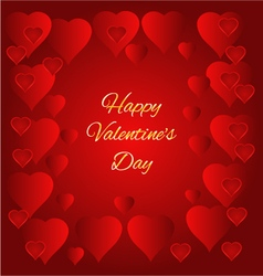 Valentines day hearts red background vector