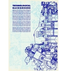 Retro technical background drawing engine vector