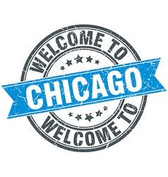 Welcome to chicago blue round vintage stamp vector