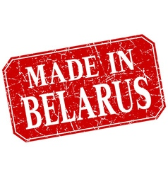 Made in belarus red square grunge stamp vector