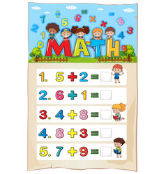 Addition worksheet template for young children vector