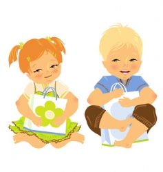 babies with gift vector image vector image