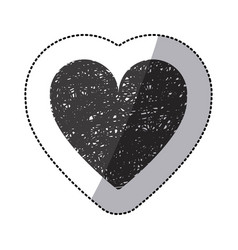 Black sticker silhouette of icon heart hand drawn vector