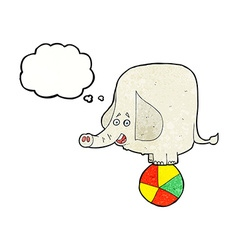 cartoon circus elephant with thought bubble vector image